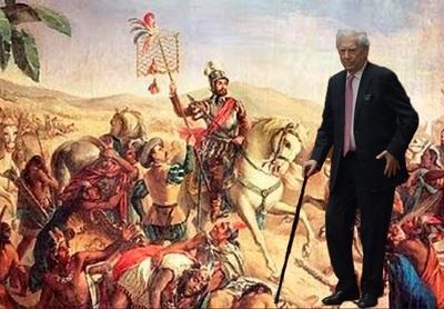 Vargas Llosa da la Bienvenida a Hernan Cortés el Libertador. Montaje Yuma..JPG