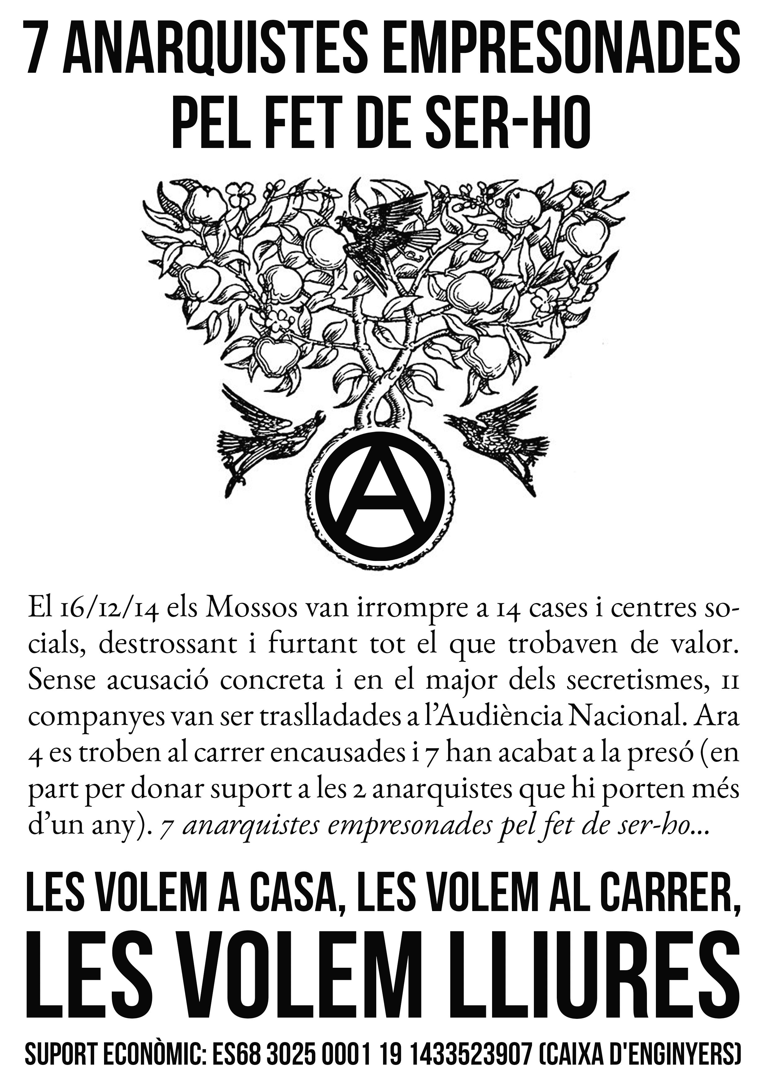 7 anarquistes empresonades pel fet de ser-ho
